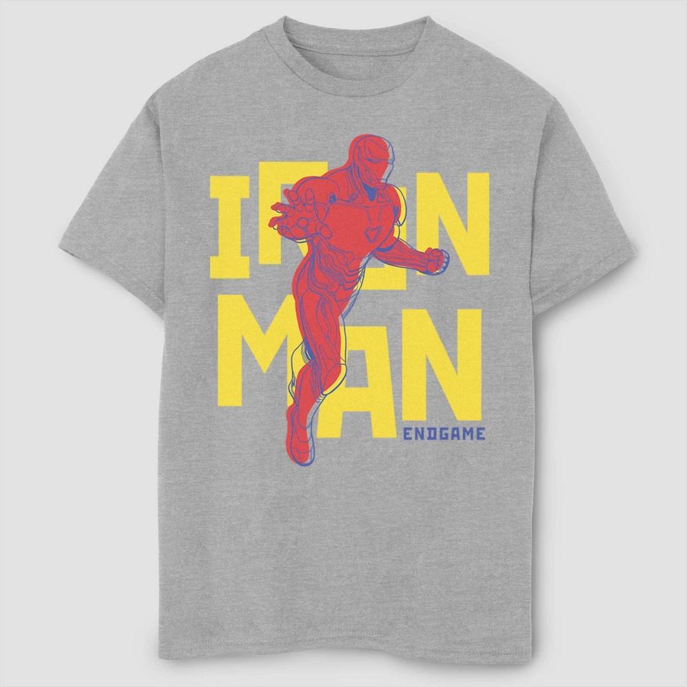 Boys Marvel Text Pop Iron Man Short Sleeve T Shirt Athletic Heather