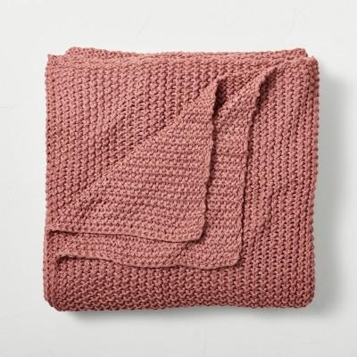 King Chunky Knit Bed Blanket Rose Pink - Casaluna™