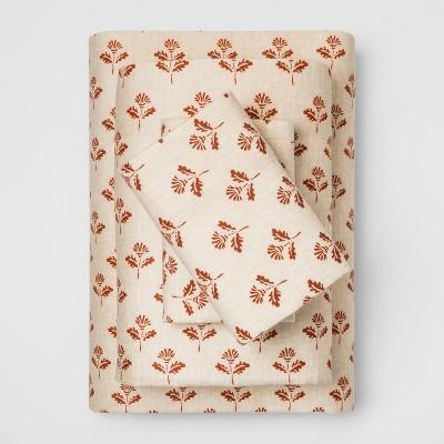 Queen Fall Flannel Sheet Set Orange Leaf - Threshold™