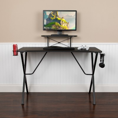 Flash Furniture Black Gaming Desk with Cup Holder, Headphone Hook, and Monitor/Smartphone Stand