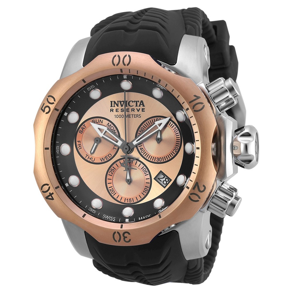Men's Invicta 19921 Venom Quartz Chronograph Rose Gold Dial Strap Watch - Black