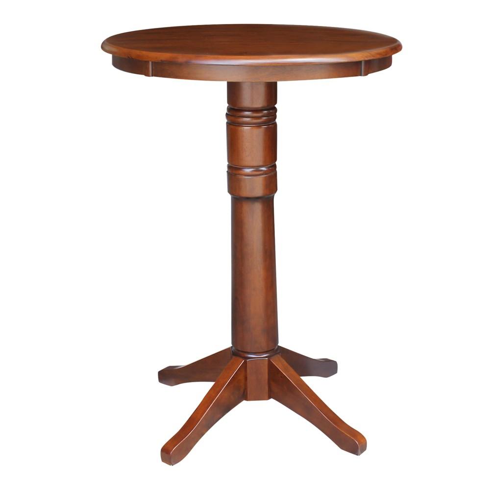30 Nick Round Top Pedestal Table Bar Height Espresso - International Concepts, Brown