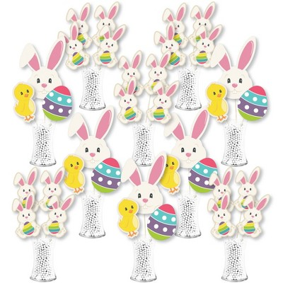 Big Dot of Happiness Hippity Hoppity - Easter Bunny Party Centerpiece Sticks - Showstopper Table Toppers - 35 Pieces