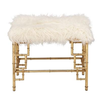Modern Faux Fur Stool Gold - Olivia & May