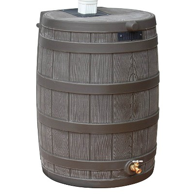 Good Ideas RW50 Rain Wizard 50 Gallon Plastic Rain Barrel Water Collector, Oak