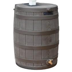 Good Ideas Rain Wizard 50 Gallon Plastic Rain Barrel Water Collector, Oak
