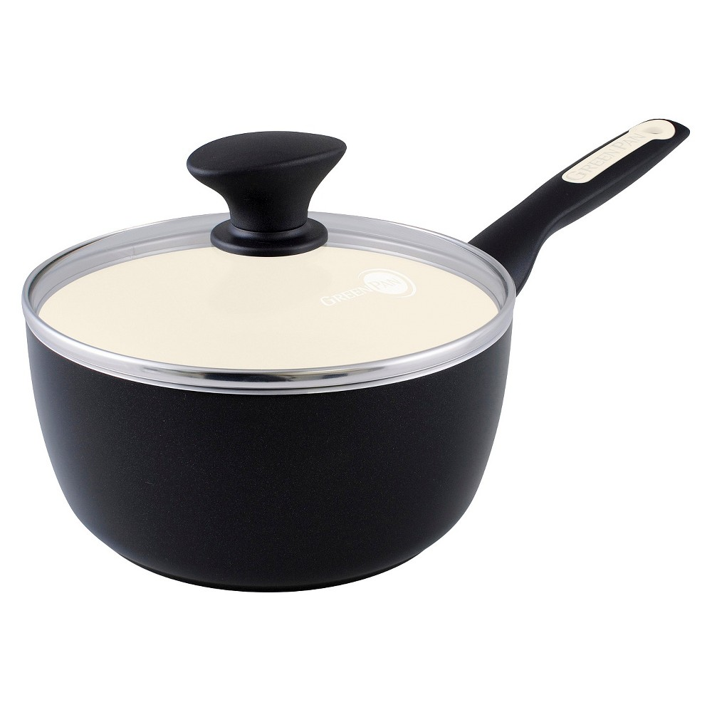 Image of GreenPan Rio 2-Quart Ceramic Non-Stick Covered Saucepan, Black