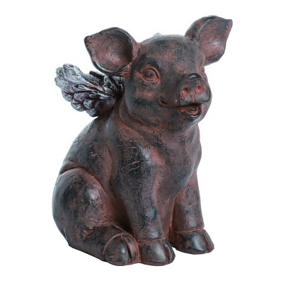 Transpac Resin 7 in. Brown Spring Pig with Wings Figurine
