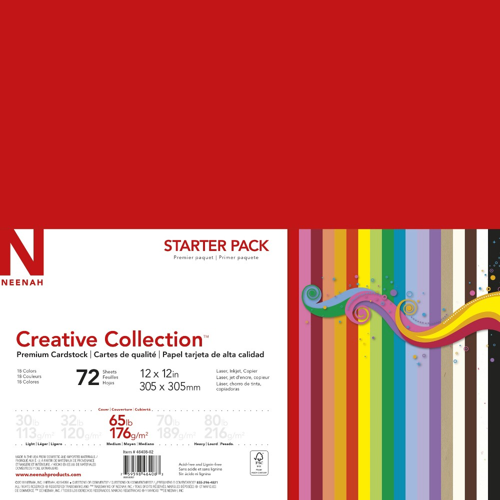 "Image of ""Neenah Creative Collection Specialty Cardstock Starter Kit, 12"""" x 12"""", 65lb., 18-Color Assortment, 72 Sheets"""