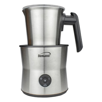 Brentwood 15 Ounce Cordless Electric Milk Frother, Warmer, and Hot Chocolate Maker in Stainless Steel
