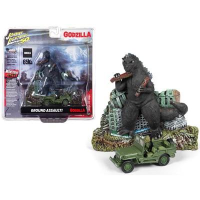 "Willys MB Jeep & ""Godzilla"" Facade Diorama ""Godzilla 65th Anniv."" (1954-2019) 1/64 Diecast Car by Johnny Lightning"