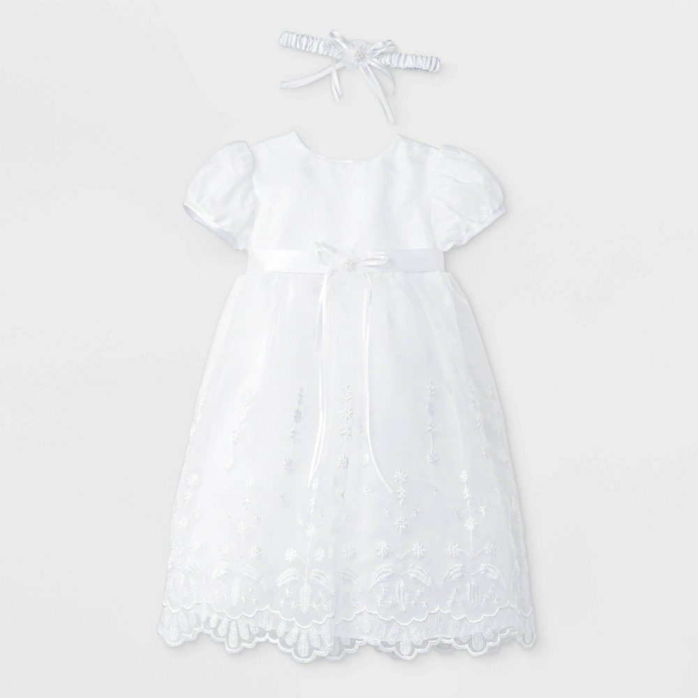 Image of Baby Girls' Baptism Sheer over Taffeta Dress with Headband - Small World White 0-3M, Girl's