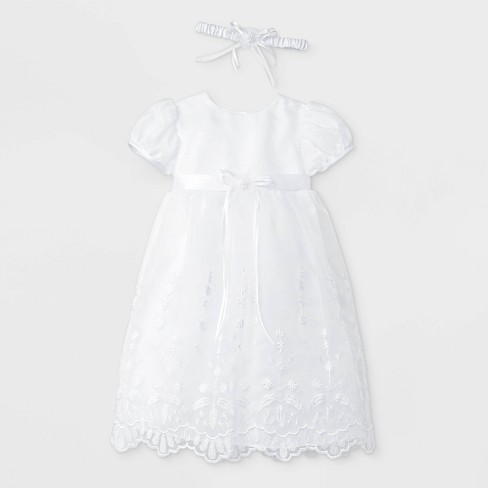 Baby Girls' Baptism Sheer over Taffeta Short Sleeve Dress with Headband - Small World White - image 1 of 2