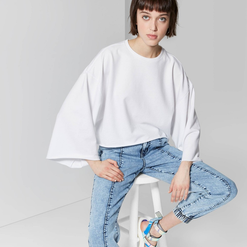 e71231e34dc Womens Wide Sleeve Crewneck Sweatshirt Wild Fable Fresh White Xxl