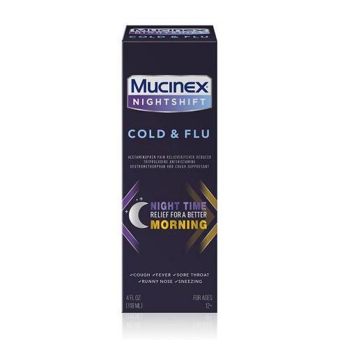 Mucinex Night Shift Cold & Flu Liquid - 4 fl oz - image 1 of 4