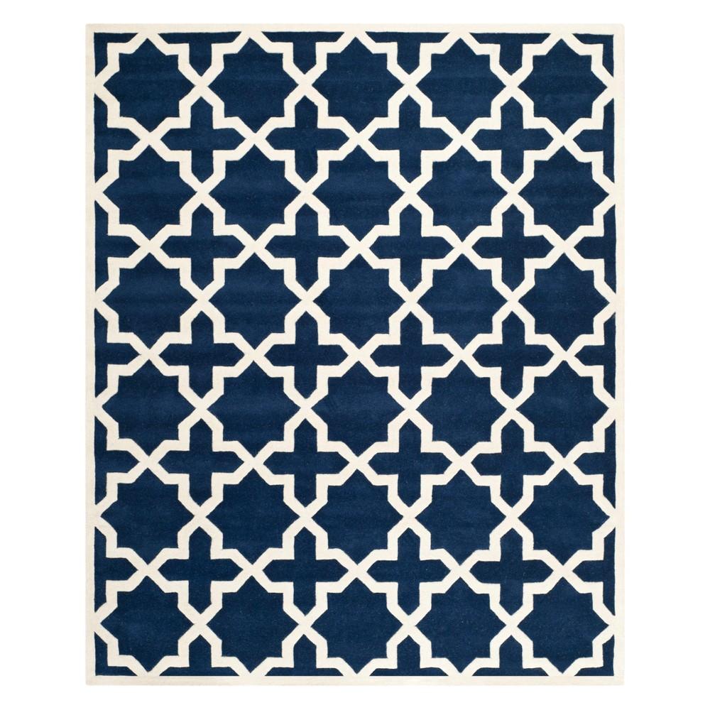 8'X10' Quatrefoil Design Tufted Area Rug Dark Blue/Ivory - Safavieh