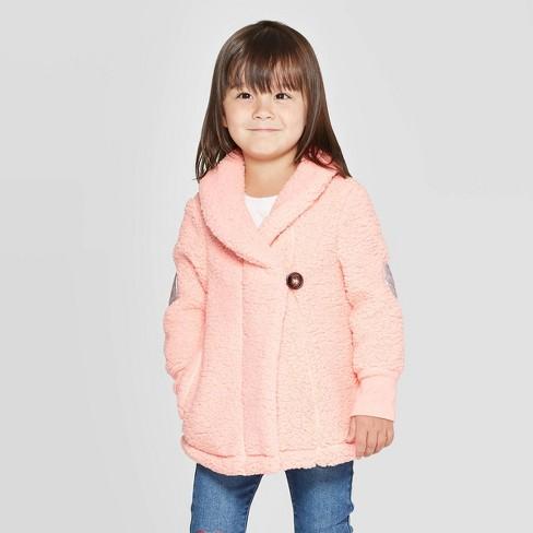 Toddler Girls' Sherpa Fleece Jacket - Cat & Jack™ Pink - image 1 of 3