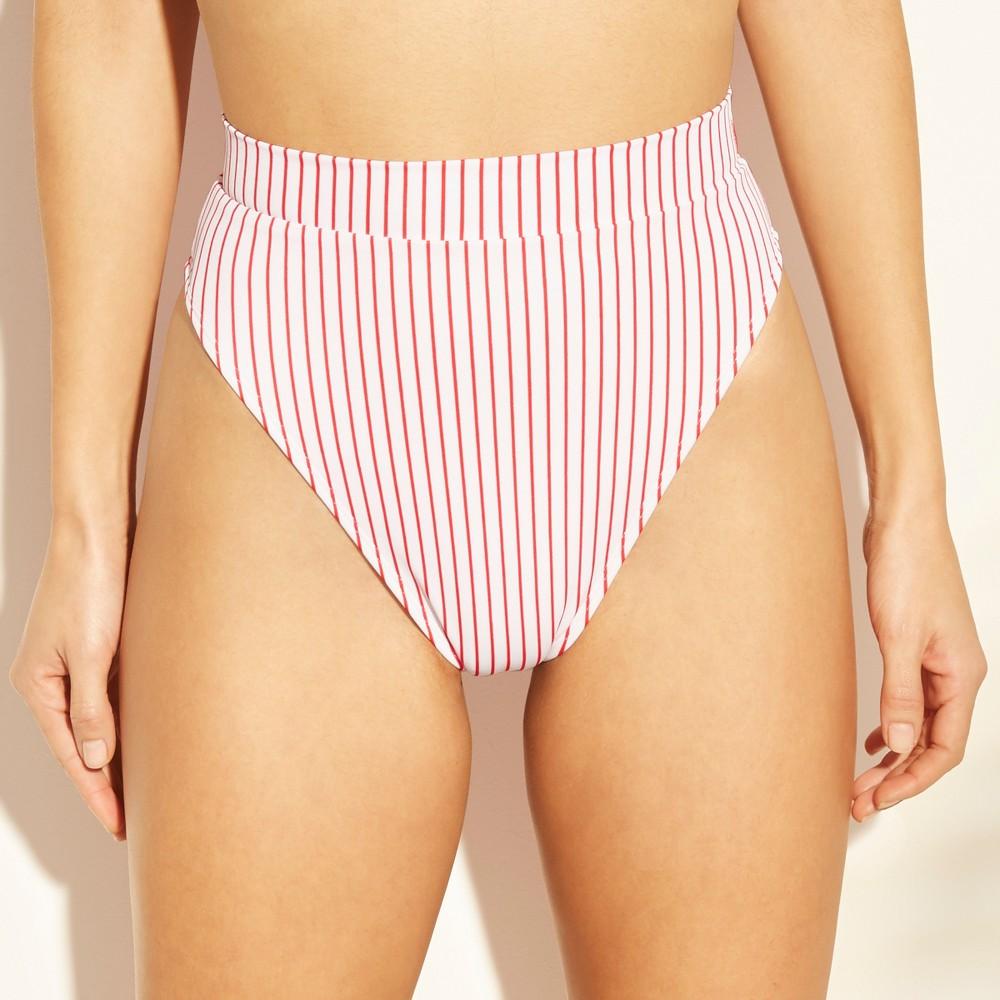 Women's High Leg High Waist Bikini Bottom - Xhilaration Red Stripe XL