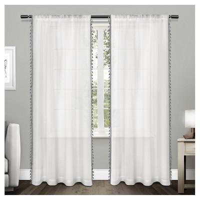 Tassels Textured Sheer Bordered Tassel Applique Rod Pocket Window Curtain Panel Pair Black Pearl (54 x84 )Exclusive Home