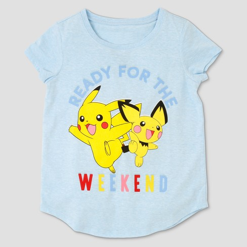 8f2fe967 Girls' Pokemon Pikachu 'Ready For The Weekend' Short Sleeve T-Shirt - Blue