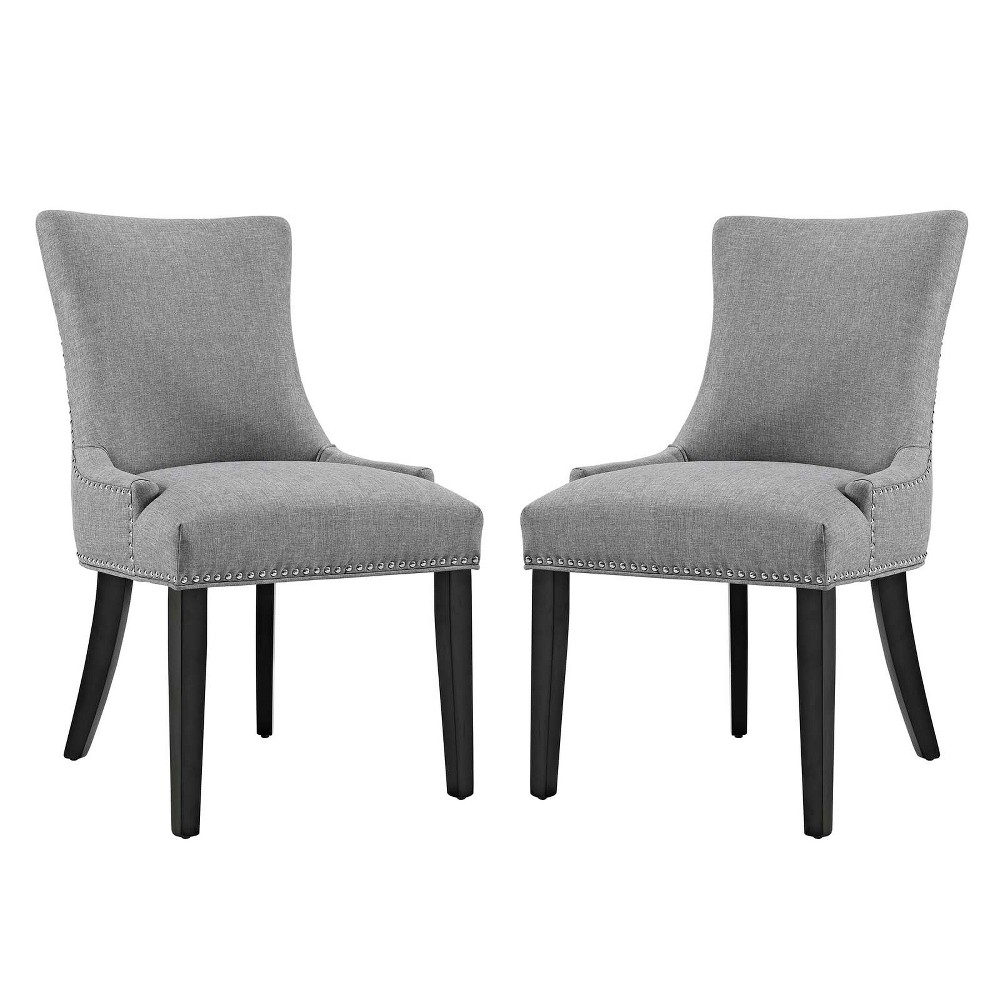 Marquis Dining Side Chair Fabric Set of 2 Light Gray - Modway