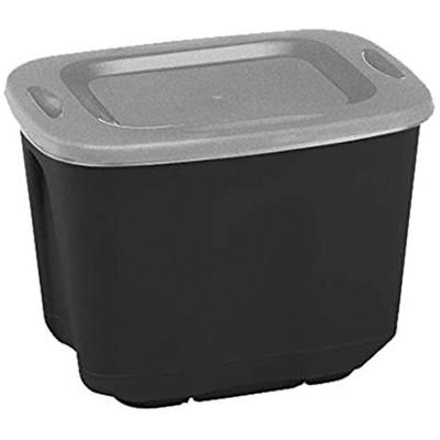 Homz 6610BKTS.10 Single 10 Gallon Durable Molded Plastic Garage Garden Kitchen Bedroom Storage Bin w/ Lid, Black/Gray