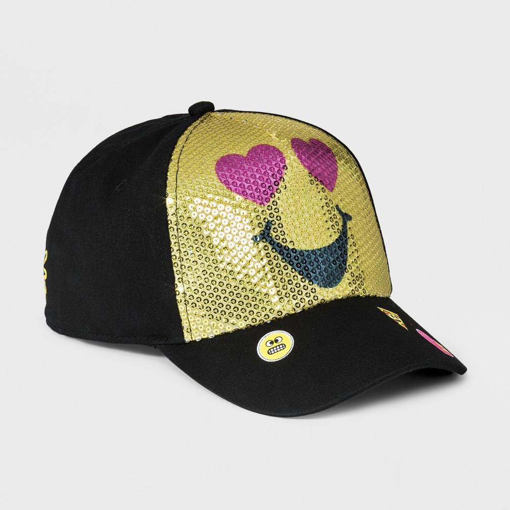 Girls' EmojiNation Sequined Baseball Hat - Black/Yellow