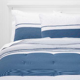 2pc Twin Jersey Pieced Comforter Set Navy - Pillowfort™