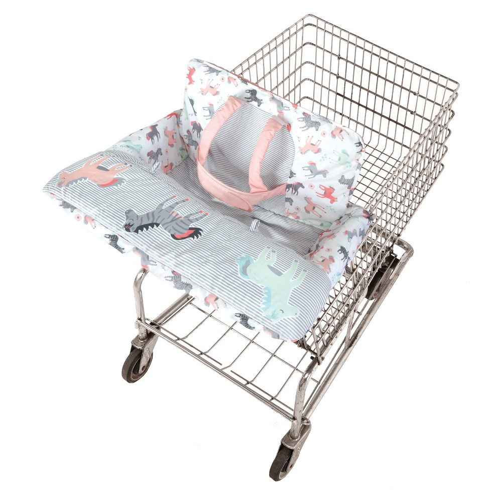 GO by Goldbug Horses Shopping Cart Cover, Multi-Colored We combined front-to-back germ protection with cuteness and comfort to create this versatile cover. Our wrap-around design includes a padded, adjustable safety strap, padded leg holes and toy loops for baby's favorite toys. It's machine washable, and folds into an attached tote for easy travel and storage. Color: Multi-Colored.