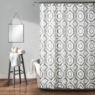 Octagon Blocks Shower Curtain Gray - Lush Decor