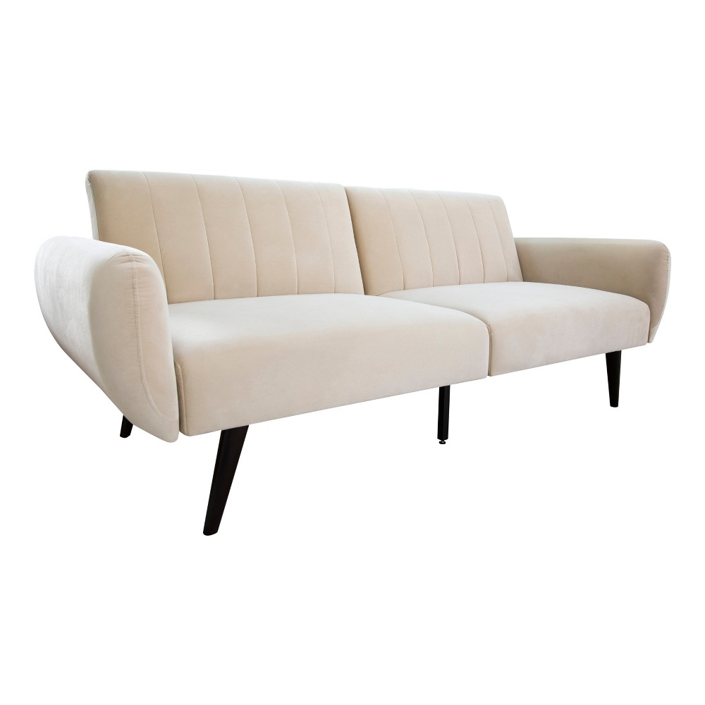 Terrific Clara Foldable Velvet Sofa Bed Ivory Abbyson Living Caraccident5 Cool Chair Designs And Ideas Caraccident5Info