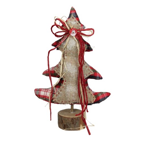 Christmas Base.Northlight 15 Burlap And Red Plaid Table Top Christmas Tree On Wooden Base
