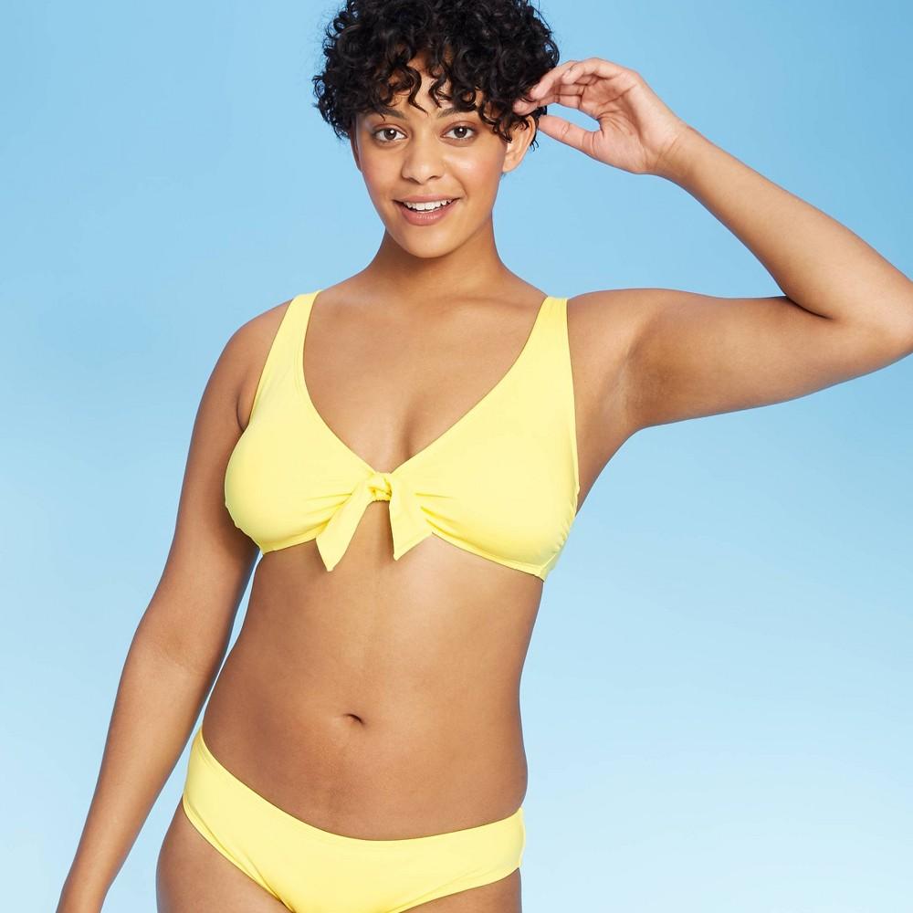 Women 39 S Tie Front Over The Shoulder Strap Bikini Top Kona Sol 8482 Light Yellow M