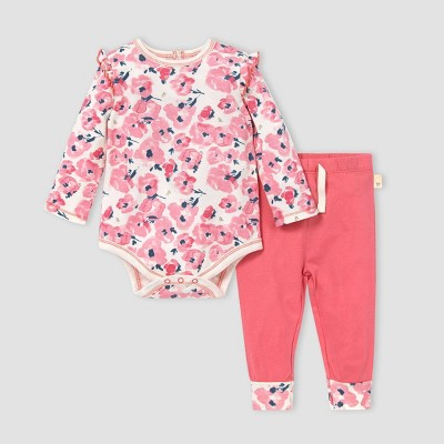 Burt's Bees Baby® Baby Girls' Bold Blossom Bodysuit and Pants Set - Red 3M
