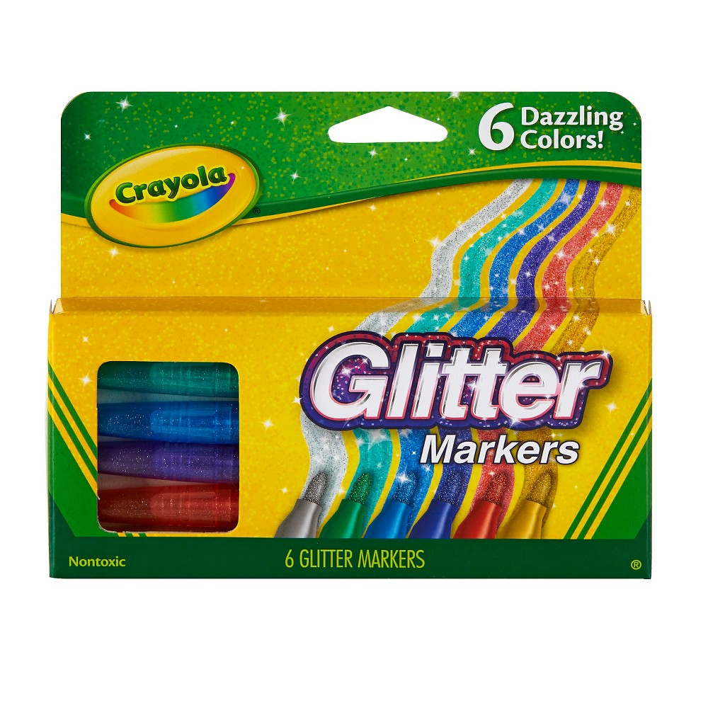 Crayola Glitter Markers 6ct, Multi-Colored