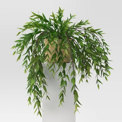 "23"" x 10"" Artificial Trailing Leaves Arrangement Green - Threshold™"