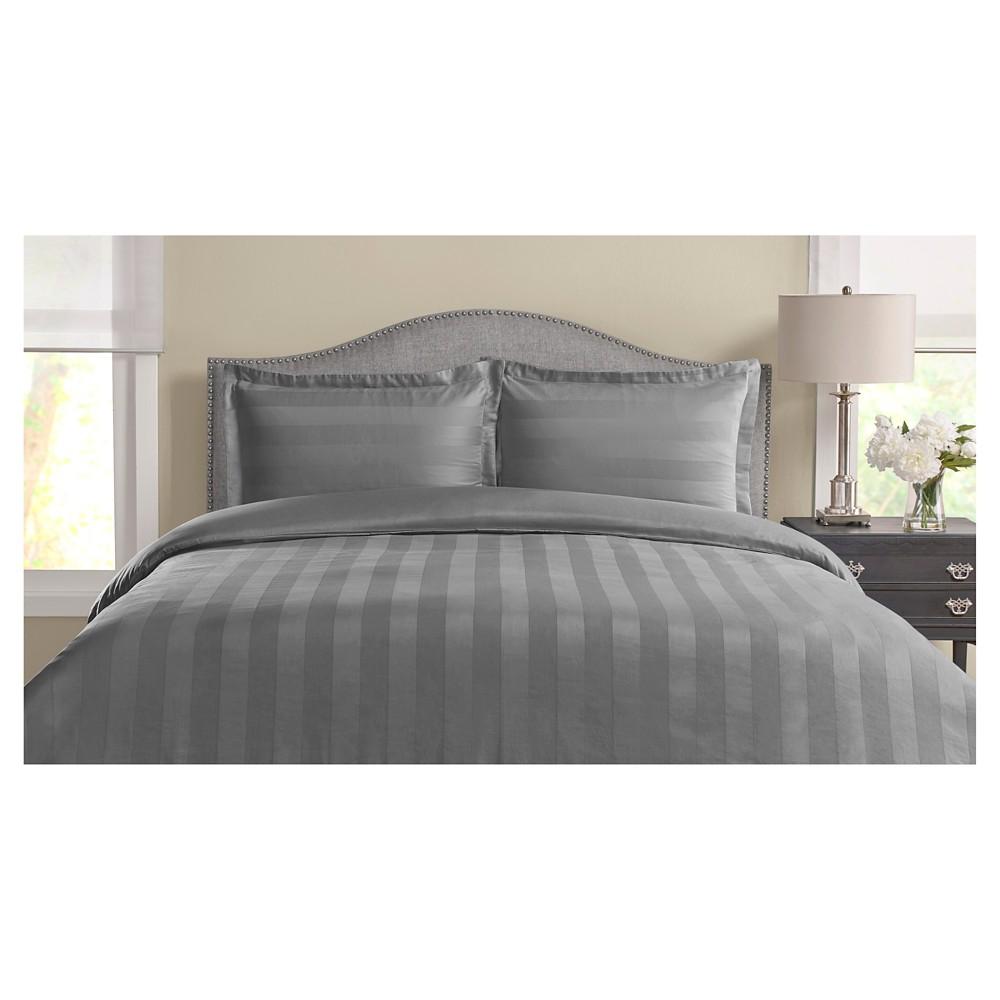 325tc Tuxedo Woven Stripe 100% Pima Cotton Duvet Set (Twin) Charcoal (Grey)