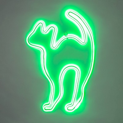 Green Flickering LED Neon Rope Cat Halloween Light Up Decor - Hyde & EEK! Boutique™