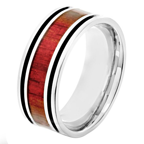 Crucible Men's Stainless Steel Wood Inlay and Enamel Stripe Ring - Red - image 1 of 3