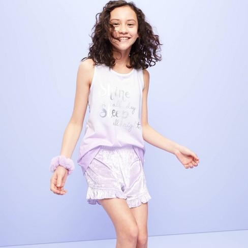 Girls' Pajama Shorts - More Than Magic™ Purple S - image 1 of 3