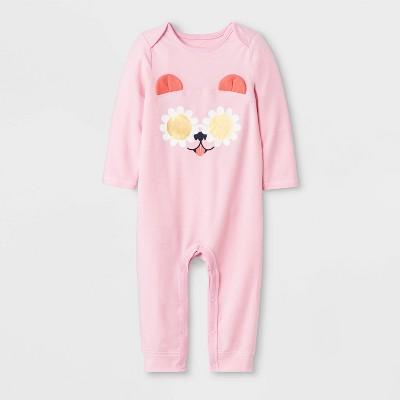 Baby Girls' Long Sleeve Puppy Ear Romper - Cat & Jack™ Pink 3-6M