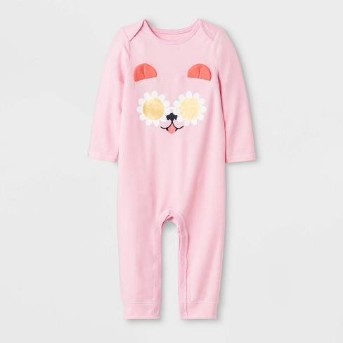 e628cb1db52 Baby Girls  Long Sleeve Puppy Ear Romper - Cat   Jack™ Pink   Target
