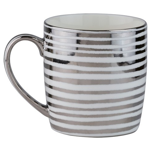 10 Strawberry Street Vail Silver Stripes 12oz Mugs - Set of 4 - image 1 of 2