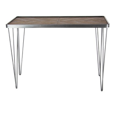Modern Wood and Iron Chevron Console Table Brown - Olivia & May