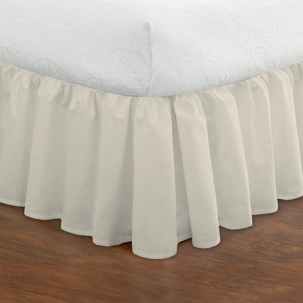 "Image of ""Ruffled 14"""" Bed Skirt - Ivory (Queen)"""