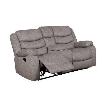 Reston Pillow Top Arms Recliner Love Seat Light Gray - miBasics
