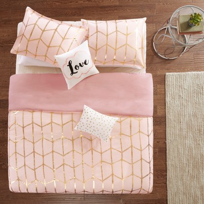 5pc Full/Queen Arielle Printed Duvet Cover Set Blush/Gold
