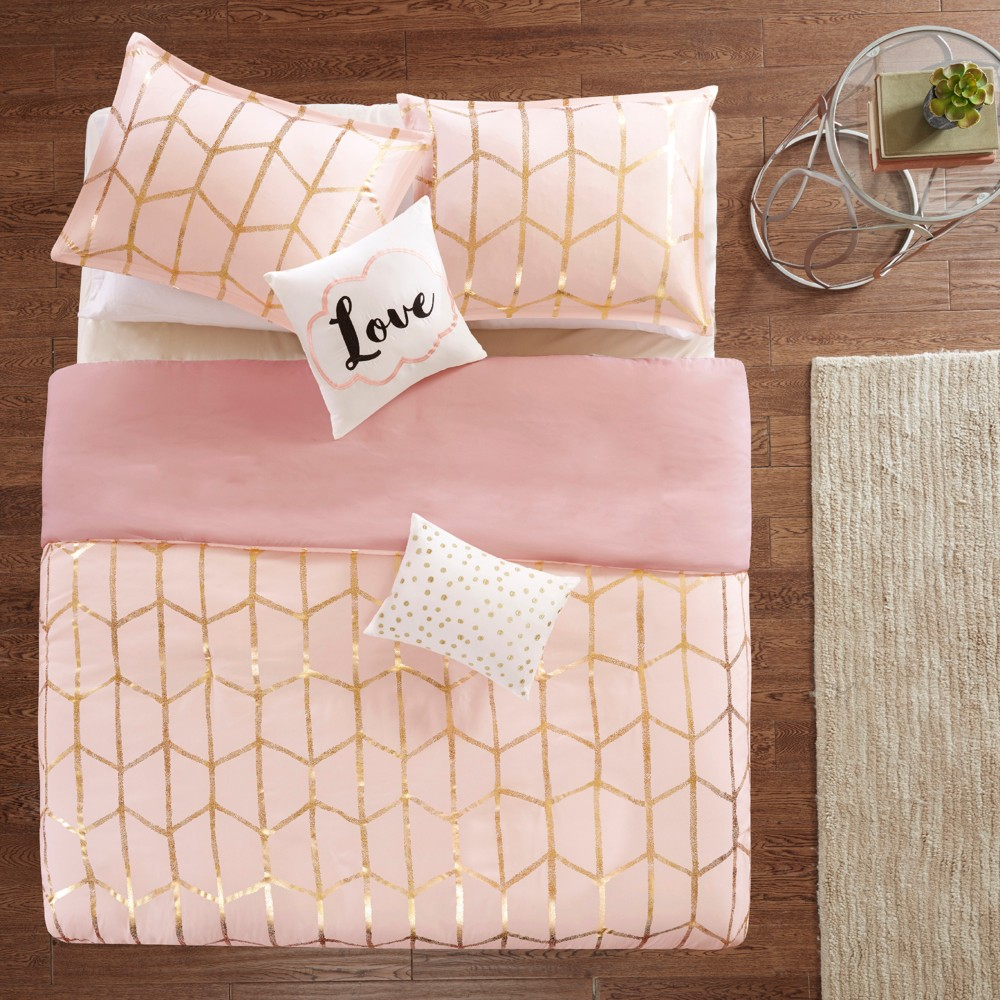 Image of 5pc Full/Queen Arielle Printed Duvet Cover Set Blush/Gold