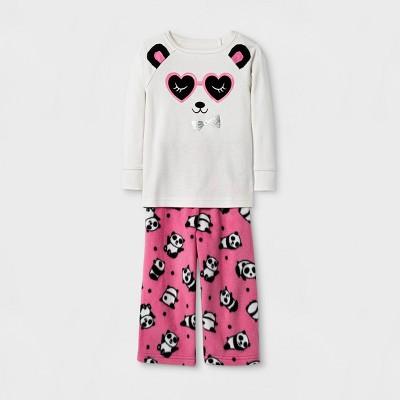 Toddler Girls' Panda Pajama Set - Cat & Jack™ Cream 12M