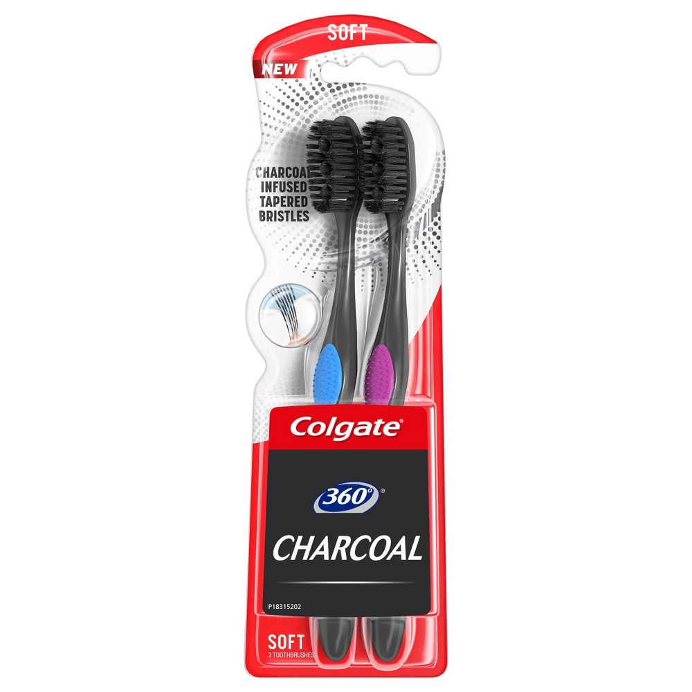Image of Colgate 360 Charcoal Toothbrush - Soft Bristles - 2ct